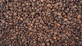 Coffee roasted beans are rotated. Slow motion