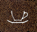 Coffee roasted beans and a silhouette of the cup Stock Image