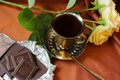 Coffee roses and chocolate cup of bar Stock Photography