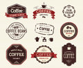 Coffee seals and stamps collection of related stamp illustrations Stock Photos