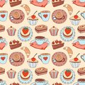 Coffee seamless cartoon pattern color background Royalty Free Stock Photos
