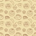 Coffee seamless line pattern cartoon background Stock Image