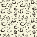 Coffee seamless pattern with items cups cupcakes teapot etc Royalty Free Stock Image