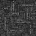 Coffee seamless pattern word cloud illustration Stock Image