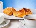 Coffee served with croissant and sfogliatella typical italian napoli sweets Stock Image