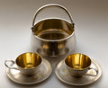 Coffee service old metal kitchenware Royalty Free Stock Photos