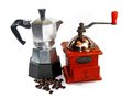 Coffee set beans grinder and moka espresso pot Royalty Free Stock Photography