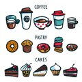 Coffee set. Colorful doodle style set of objects on coffee theme. Coffee cups, pastry and cakes on white background