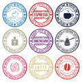 Coffee set of stamps Royalty Free Stock Photo