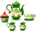 Coffee set or tea set and cup cake Stock Image