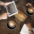 Coffee Shop Break Cafe Meeting Croissant Concept Royalty Free Stock Photo