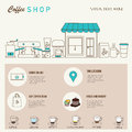 Coffee shop design web template with linear icons . Royalty Free Stock Photo