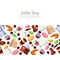 Coffee shop, desserts, vector horizontal seamless background. Cartoon illustration. Design elements for cafe or bakery.