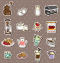 Coffee shop element stickers Stock Photography