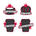 Coffee Shop Logos Templates Set. Vector object for Labels, Badges,  Design.  Logo Royalty Free Stock Photo