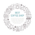Coffee shop poster template. Vector line illustration of coffeemaking equipment. Elements - espresso cup, french press