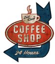 Coffee Shop Tin Sign with Arrow