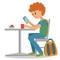 Coffee shop vector flat illustration. Young man drink coffee at the table. Vector illustration of student at coffee break using sm