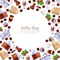 Coffee shop vector white frame background. Cartoon flat illustration. Design elements for cafe or bakery