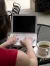 Coffee shop wifi laptop Royalty Free Stock Photos