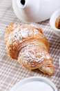 Coffee sill life still with croissant over fabric background Royalty Free Stock Photos
