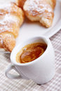 Coffee sill life still with croissant over fabric background Stock Image