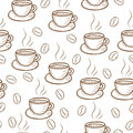 Coffee sketch hand drawing pattern vector illustration. Royalty Free Stock Photo