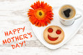 Coffee smiled cookie Heart love flower Happy Mothers Day Royalty Free Stock Photo