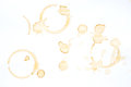 Coffee Stains and coffee cup stains on white Royalty Free Stock Photo