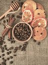 Coffee still life. Cookies for coffee. Coffee beans and fragrant cinnamon Royalty Free Stock Photo