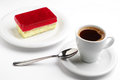 Coffee and strawberry cake cup of hot tasty with poppy Stock Photo