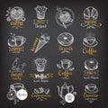 Coffee and sweet menu restaurant badges, dessert menu.