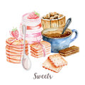 Coffee and sweets illustration. Hand drawn watercolor on white background.