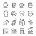 Coffee symbol line icon set on white background vector illustration Royalty Free Stock Photos