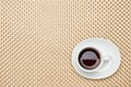 Coffee on the table cloth this is a photo of Stock Photo