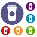 Coffee in take away cup icons set