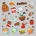 Coffee and Tea Badges, Patches, Stickers for Prints and Fashion Textile with Beans