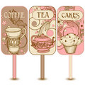 Coffee, tea and cakes labels Royalty Free Stock Photo