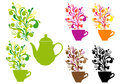 Coffee and tea with color swirls, vector set Royalty Free Stock Photo