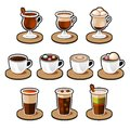 Coffee and tea cup set. Royalty Free Stock Photo