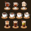 Coffee and tea cup set vector icon collection Royalty Free Stock Image