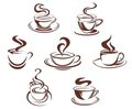 Coffee and tea cups Stock Photos