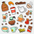 Coffee and Tea Doodle. Hot Drinks with Sweet Food Stickers, Patches and Badges