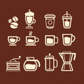 Coffee tea and drinks icons set vector Stock Photos