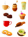 Coffee and tea icon set Stock Image