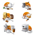 Coffee and tea icon set Stock Photo