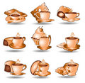 Coffee tea icon web collection Royalty Free Stock Images