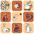 Coffee and tea icons Royalty Free Stock Image