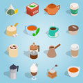 Coffee and tea isometric set