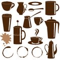 Coffee and tea items silhouettes set collection Royalty Free Stock Photos